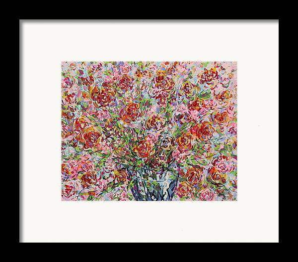Flowers Framed Print featuring the painting Rose Bouquet In Glass Vase by Leonard Holland