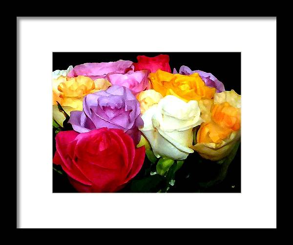 Roses Framed Print featuring the digital art Rose Bouquet Painting by Will Borden