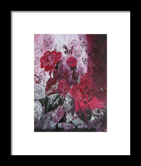 Roses Framed Print featuring the painting Rose Burst by Rupa Prakash