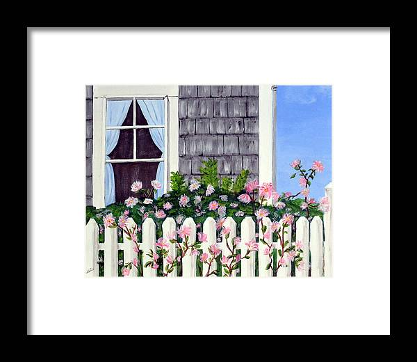 Cottage Framed Print featuring the painting Rose Cottage by Nancy Sisco