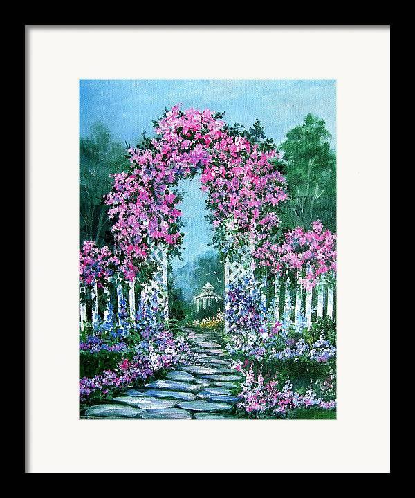 Roses;floral;garden;picket Fence;arch;trellis;garden Walk;flower Garden; Framed Print featuring the painting Rose-covered Trellis by Lois Mountz