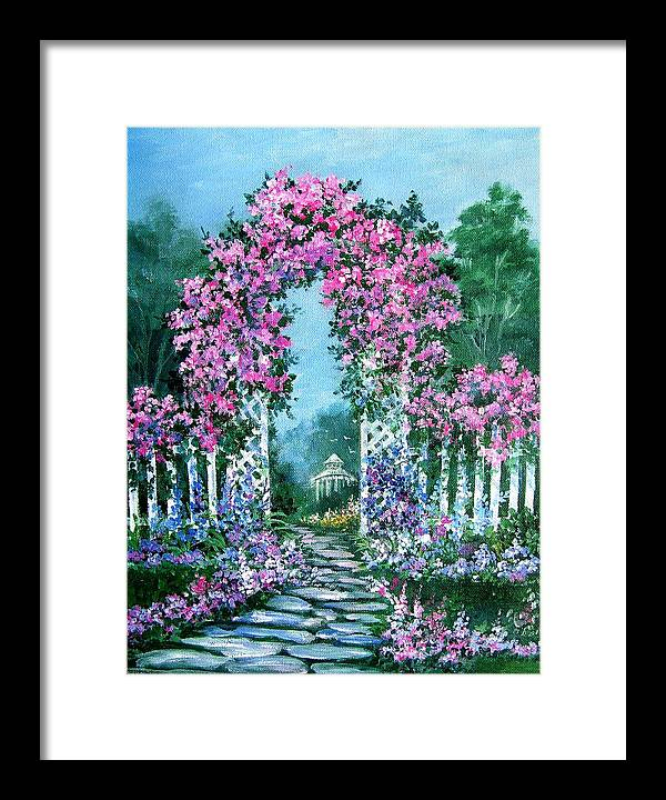 Roses;floral;garden;picket Fence;arch;trellis;garden Walk;flower Garden; Framed Print featuring the painting Rose-covered Trellis by Lois Mountz