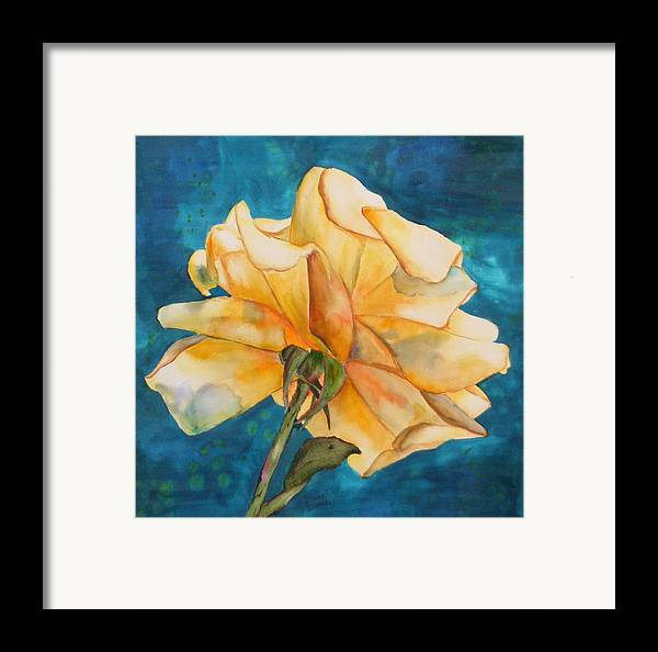 Floral Framed Print featuring the painting Rose From Behind by Diane Ziemski