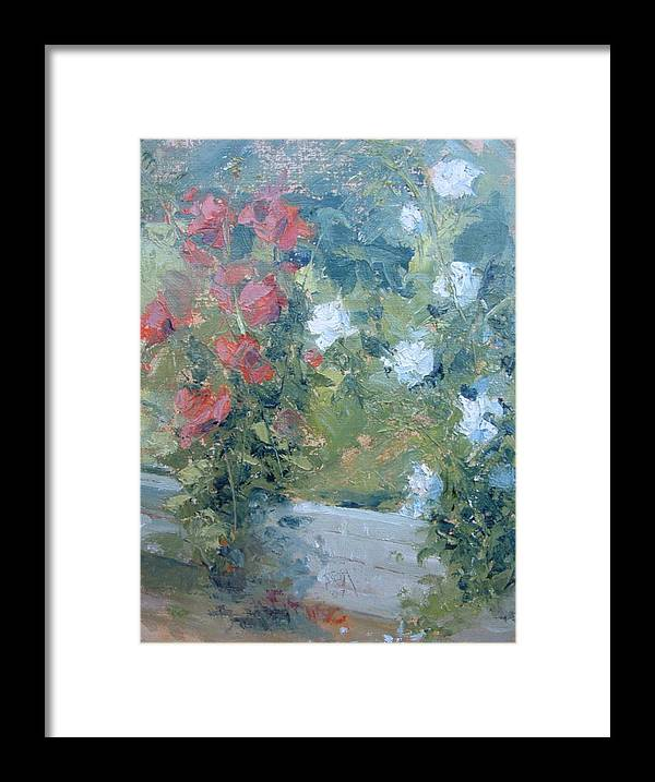Roses In California Garden Framed Print featuring the painting Rose Garden by Bryan Alexander