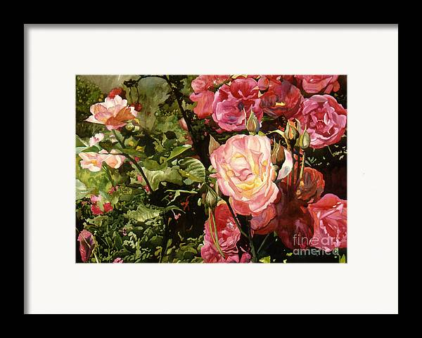 Watercolor Framed Print featuring the painting Rose Garden by Teri Starkweather