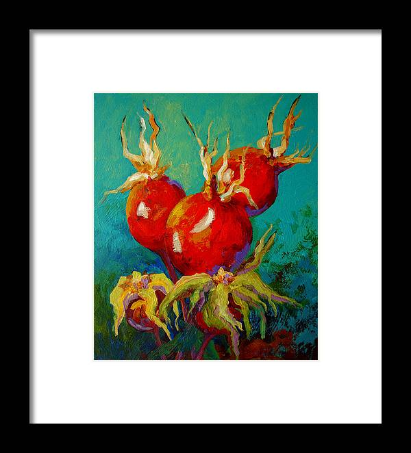 Floral Framed Print featuring the painting Rose Hips by Marion Rose