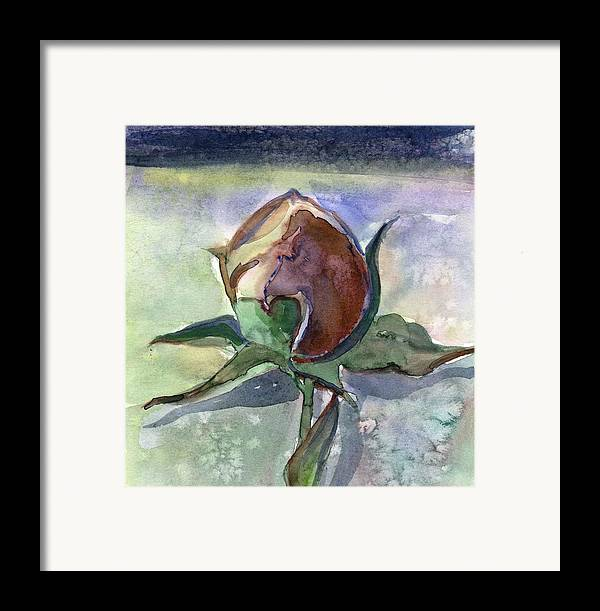 Rose Framed Print featuring the painting Rose In The Snow by Mindy Newman