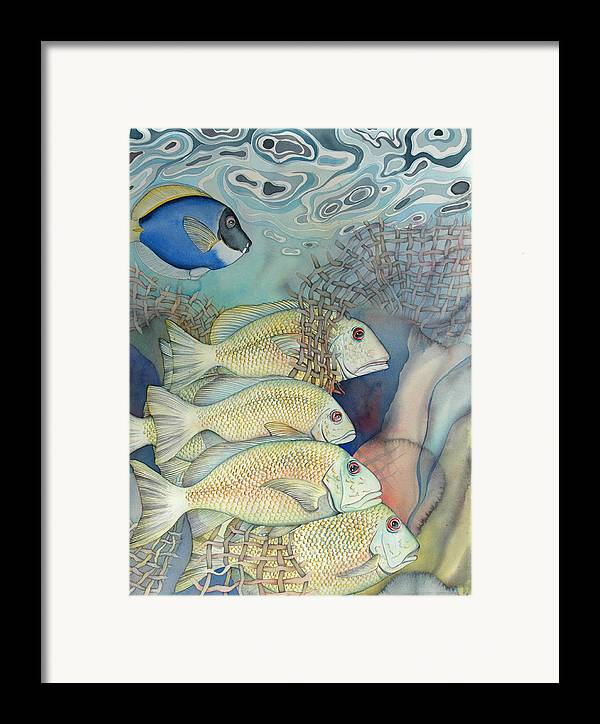 Sealife Framed Print featuring the painting Rose Island II by Liduine Bekman