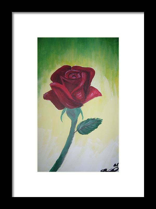 Rose Framed Print featuring the painting Rose by Joanna Aud