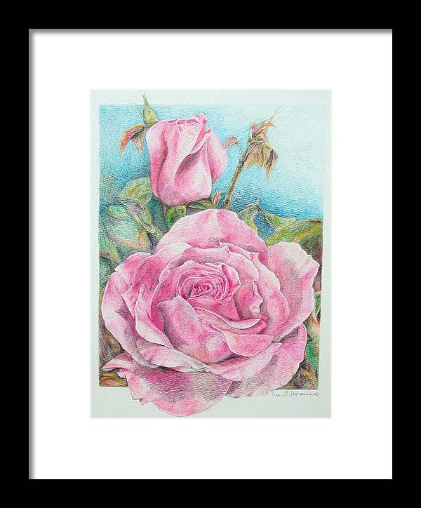 Flower Framed Print featuring the painting Rose by Muriel Dolemieux