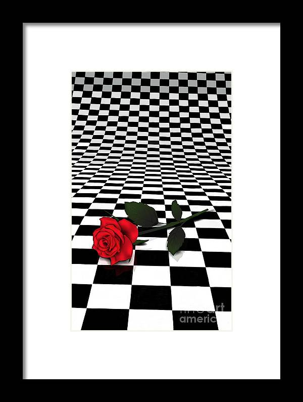 Red Rose Framed Print featuring the digital art Rose On Black And White #0073 by Ula Zogman