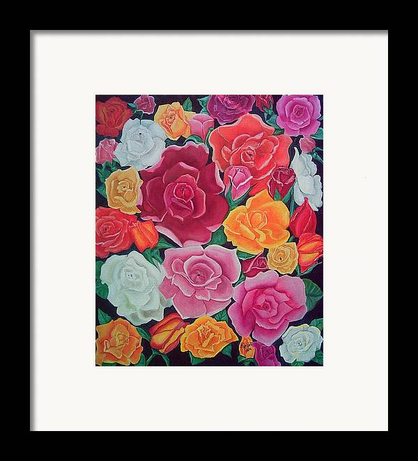 Rose Framed Print featuring the painting Rose Reunion by Kathern Welsh