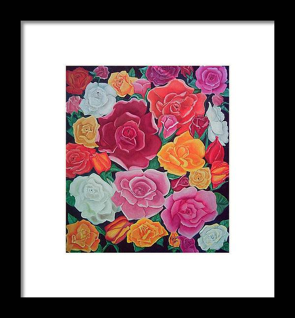 Rose Framed Print featuring the painting Rose Reunion by Kathern Ware