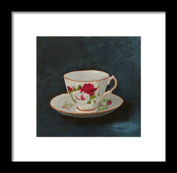 Rose Teacup And Saucer China Original Acrylic Framed Print featuring the painting Rose Teacup by Sharon Steinhaus
