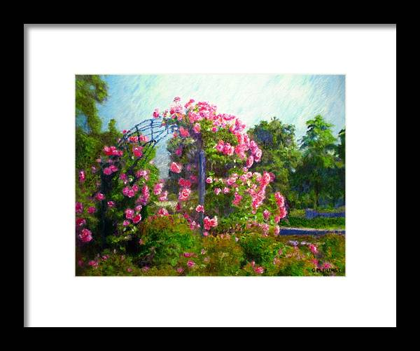Rose Framed Print featuring the painting Rose Trellis by Michael Durst