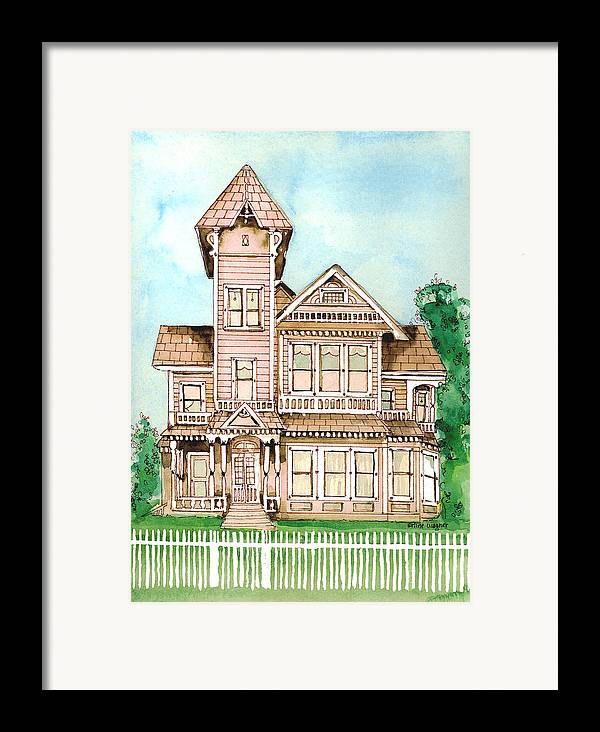 Victorian Inn Framed Print featuring the painting Rose Victorian Inn - Arroyo Grande Ca 1886 by Arline Wagner