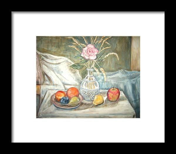 Still Life Fruit Rose Bottle Flowers Framed Print featuring the painting Rose With Fruit by Joseph Sandora Jr