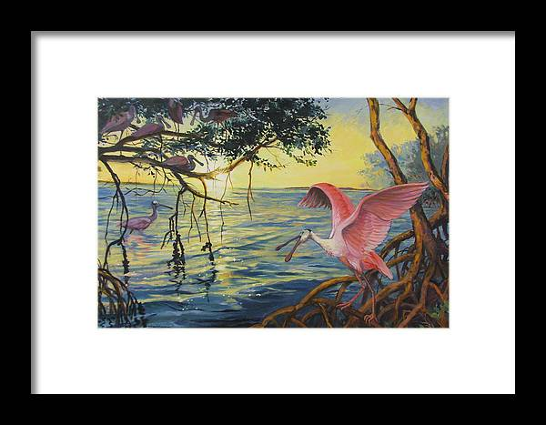 Acrylic Painting Framed Print featuring the painting Roseate Spoonbills Among The Mangroves by Dianna Willman