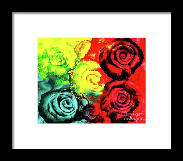 Painting Framed Print featuring the painting Roses by Abu Artist