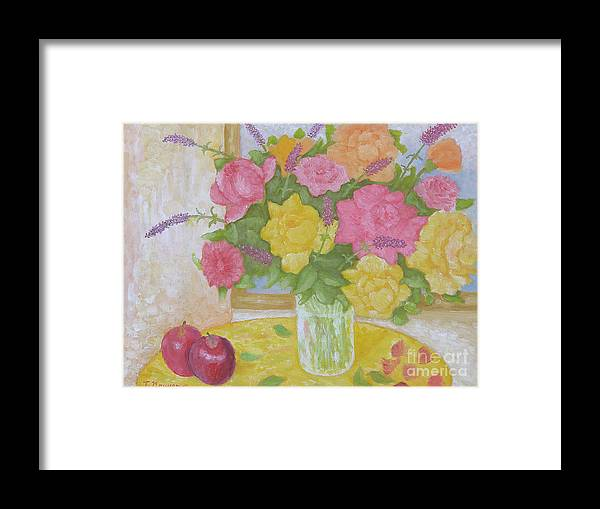 Still Life Framed Print featuring the painting Roses And Apples by Thi Nguyen