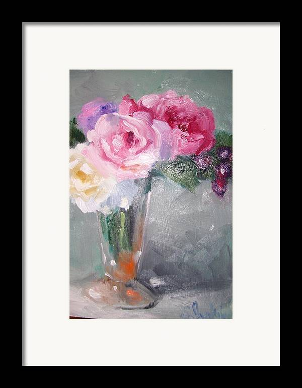 Stillife Framed Print featuring the painting Roses And Berries by Susan Jenkins