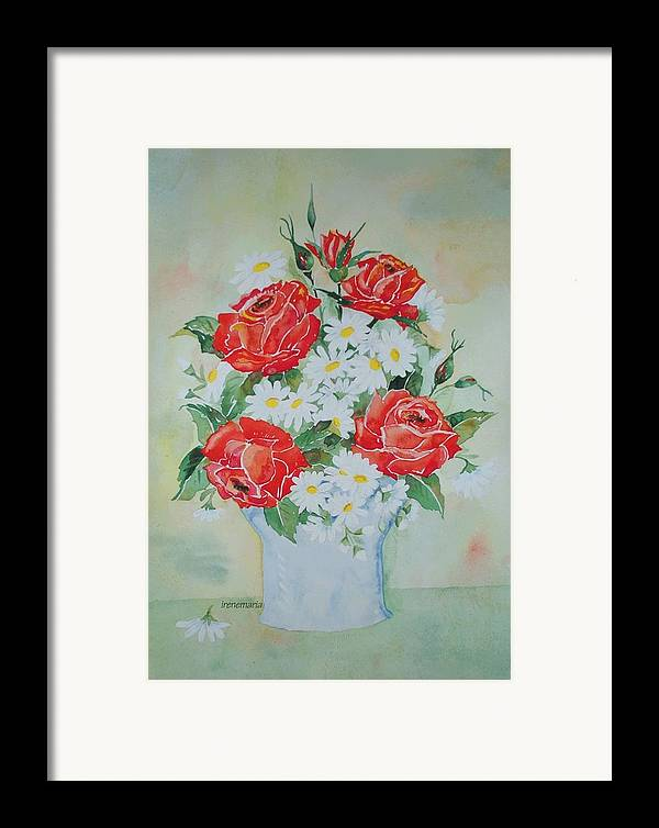 Roses Flowers Framed Print featuring the painting Roses And Daises by Irenemaria Amoroso