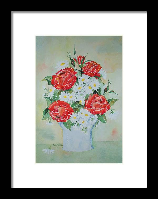 Roses Flowers Framed Print featuring the painting Roses And Daises by Irenemaria
