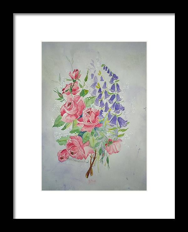 Roses Flowers Framed Print featuring the painting Roses And Digitalis by Irenemaria Amoroso