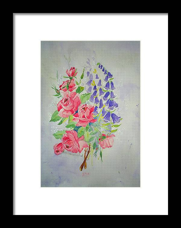 Roses Flowers Framed Print featuring the painting Roses And Digitalis by Irenemaria