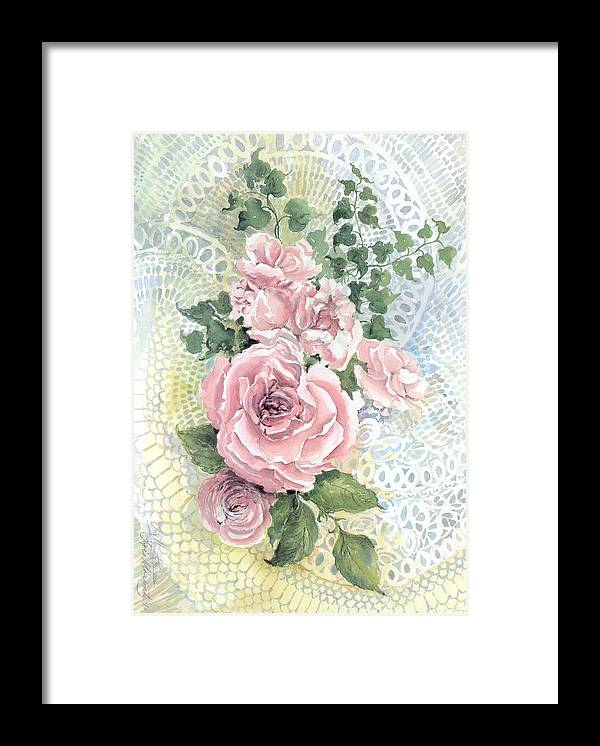 Roses;pink Roses;ivy;lace;floral; Framed Print featuring the painting Roses and Lace by Lois Mountz