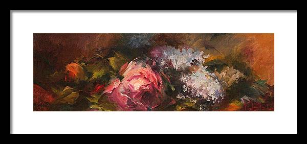 Floral Arrangements Framed Print featuring the painting Roses And Lilacs by Blake Originals - Marjorie and Beverly
