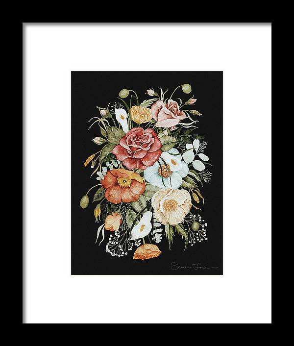 Florals Framed Print featuring the painting Roses And Poppies Bouquet by Shealeen Louise