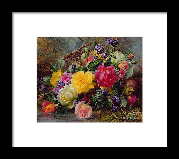 Rose; Flower; Reflection; Flowers; Pink; Yellow; White; Roses; Basket; Water; Grass; Grassy; Grassy Bank; Pond Framed Print featuring the painting Roses by a Pond on a Grassy Bank by Albert Williams