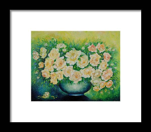 Painting Framed Print featuring the painting Roses. by Evgenia Davidov