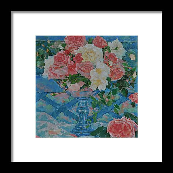 Roses Framed Print featuring the painting Roses by Iliyan Bozhanov