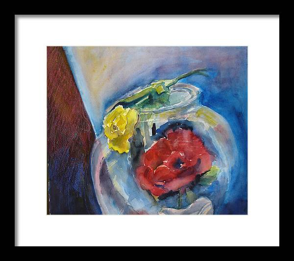 Roses Framed Print featuring the painting Roses In A Fish Bowl by Joyce Kanyuk