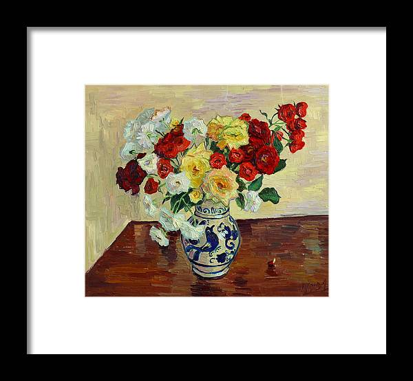 Rose Framed Print featuring the painting Roses in Chinese vase by Vitali Komarov