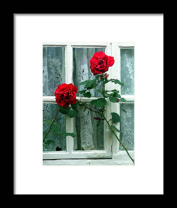 Roses Framed Print featuring the photograph Roses In The Window by Mindy Newman