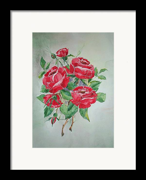 Roses Flowers Framed Print featuring the painting Roses by Irenemaria Amoroso