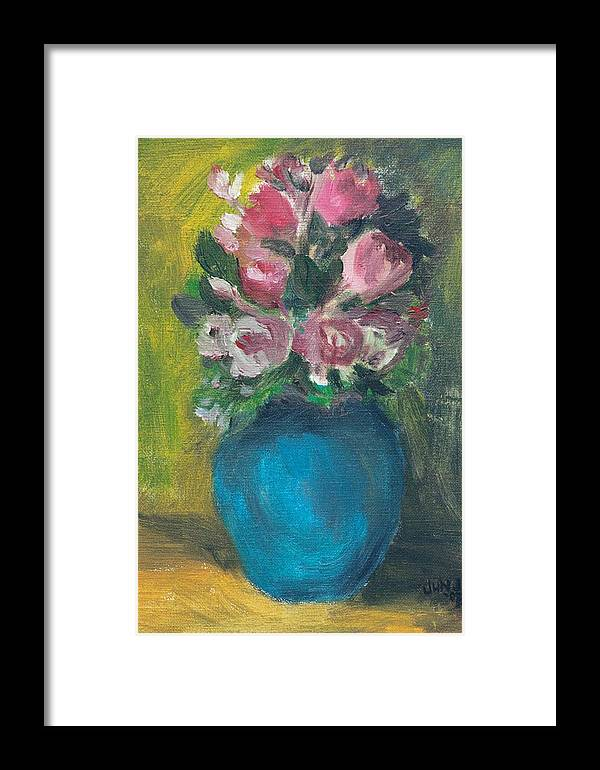 Roses Framed Print featuring the painting Roses by Jun Jamosmos
