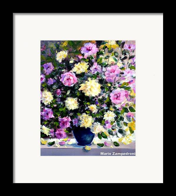 Roses Framed Print featuring the painting Roses by Mario Zampedroni
