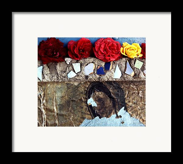 Virgin_mary Framed Print featuring the photograph Roses On A Shrine by Lawrence Costales
