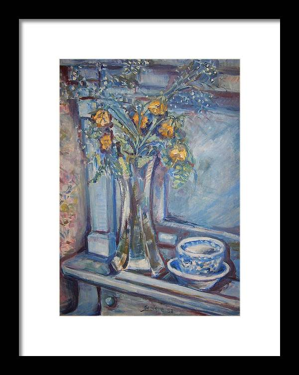Still Life Flowers Roses Piano Framed Print featuring the painting Roses On Piano by Joseph Sandora Jr