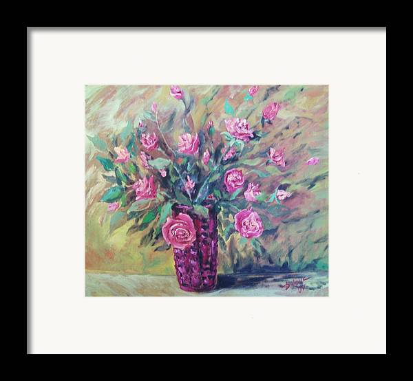 Flowers Painting Framed Print featuring the painting Roses by Vladimir Domnicev
