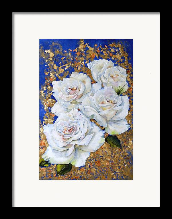 Rose Framed Print featuring the painting Roses With Gold Leaf by Diane Ziemski