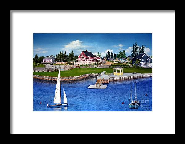 Landscape Framed Print featuring the painting Rosewood Cottages Nova Scotia by Donald Hofer