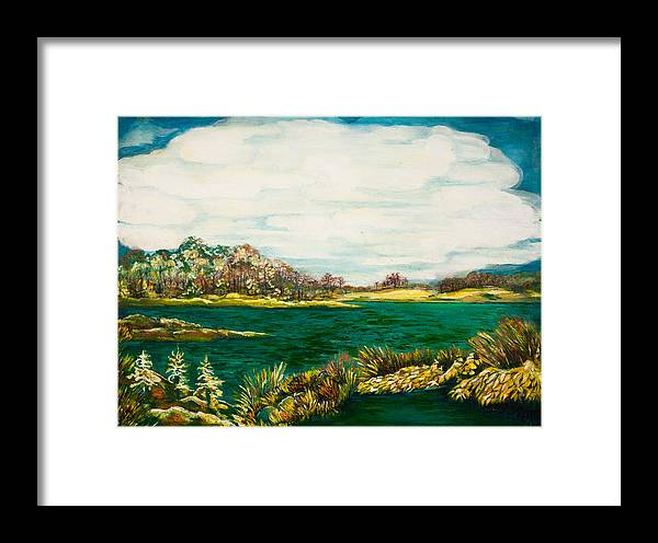 Roslyn Harbor Framed Print featuring the painting Roslyn Harbor by Rusiko Plaksina