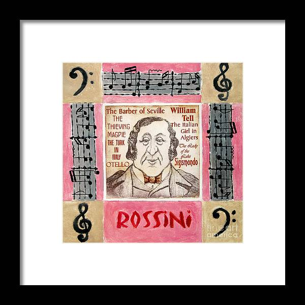 Rossini Framed Print featuring the mixed media Rossini Portrait by Paul Helm