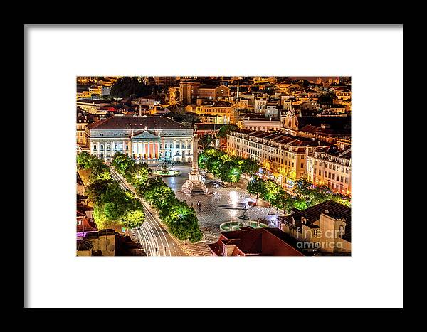 Lisbon Framed Print featuring the photograph Rossio Square Night by Benny Marty