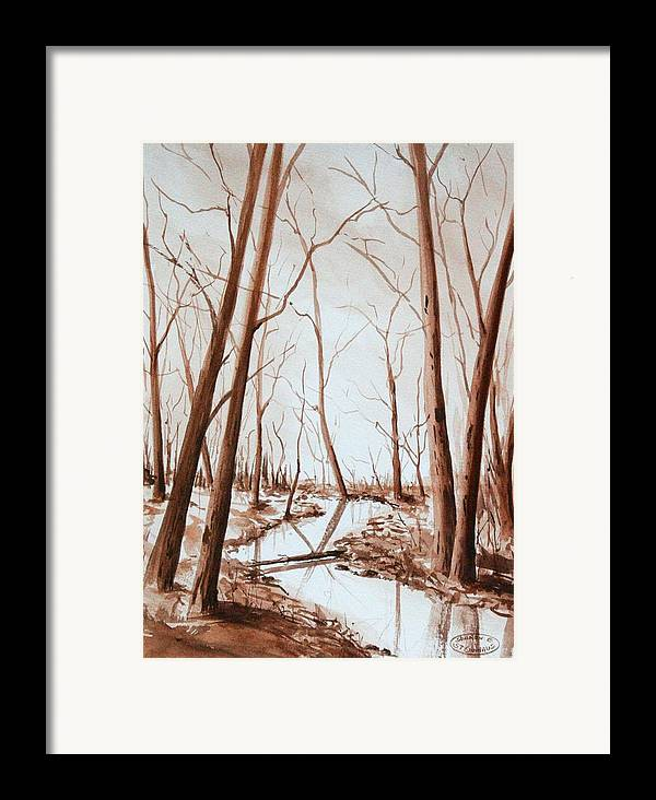Sepia Watercolour Of Trees Framed Print featuring the painting Rotary Bog by Sharon Steinhaus